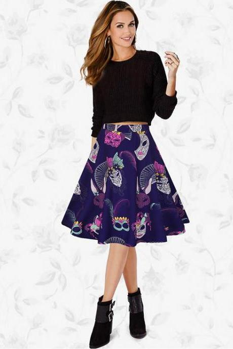 Women Lady Spring Summer Vintage Floral Printed Casual Retro A Line Women Knee Length Skirt C832-Purple Color