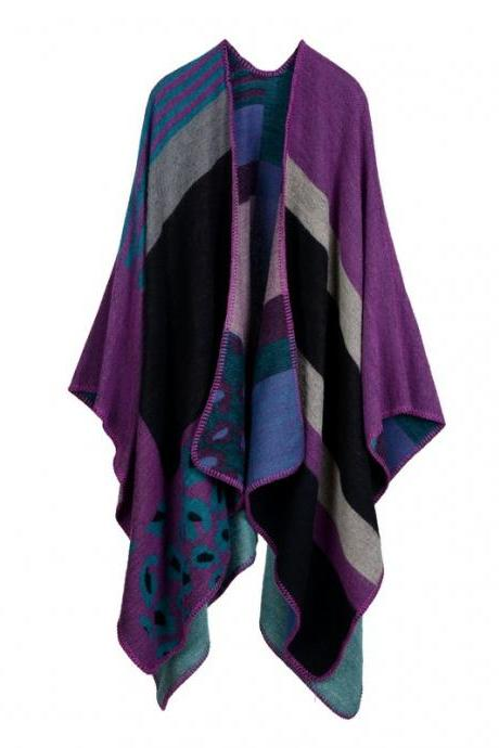 Women Lady Faux Cashmere Scarf Plaid Poncho Cape Floral Wrap Shawl Blanket Cloak