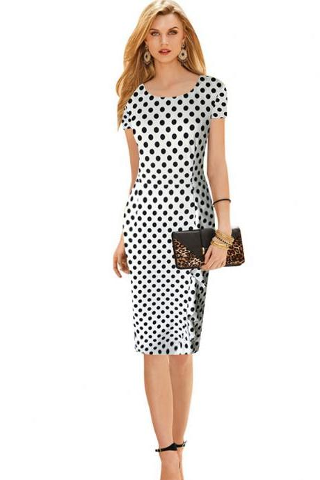 Vintage Women Polka Dot Short Sleeve Knee-Length Casual Stretchy Bodycon Pencil Business Dresses white Color