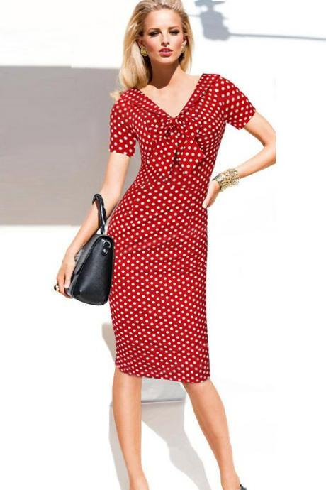 Vintage Polka Dots Short Sleeve Slim Office Casual Women Summer Bow Sheath Bodycon Pencil Dress red color
