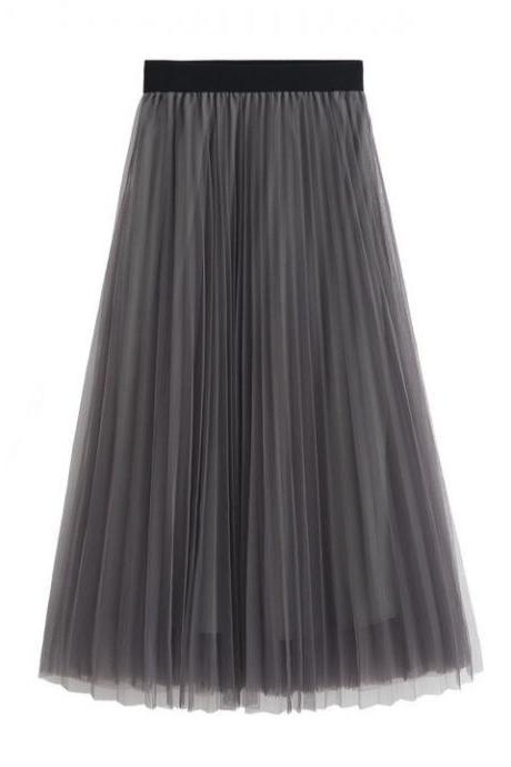 Women Tulle Skirts Elastic High Waist Lady Long Skirt Womens Tutu Maxi Pleated Skirt 85cm gray Color