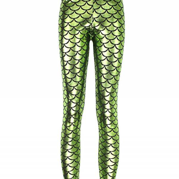Fashion Silk Milk Fish Scale Print Mermaid Leggings Women Stretch Ankle Length Trousers Seamless Shiny Casual Leggings light green