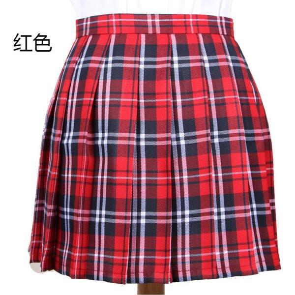 Harajuku 2017 Women Fashion Summer high waist pleated skirt Cosplay plaid skirt Girl A Line Mini Skirt red
