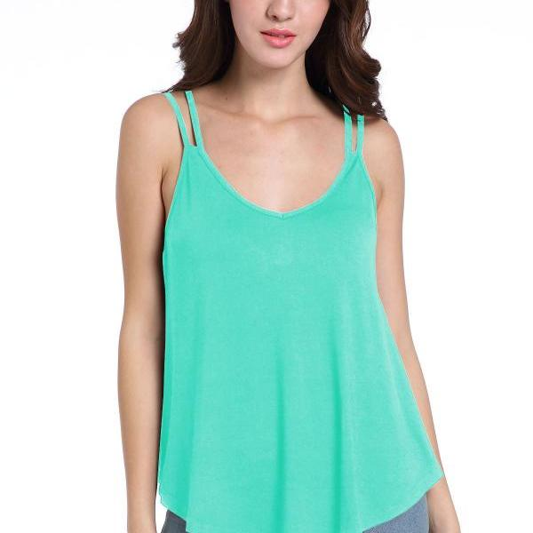 Women Sexy Summer Sleeveless Tops Spaghetti Strap Strappy Loose Camisole Cami Tank Tops aqua