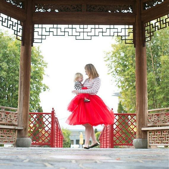 6 Layers Midi Tulle Skirts Womens Tutu Skirt Elegant Wedding Bridal Bridesmaid Skirt Lolita Underskirt Petticoat red