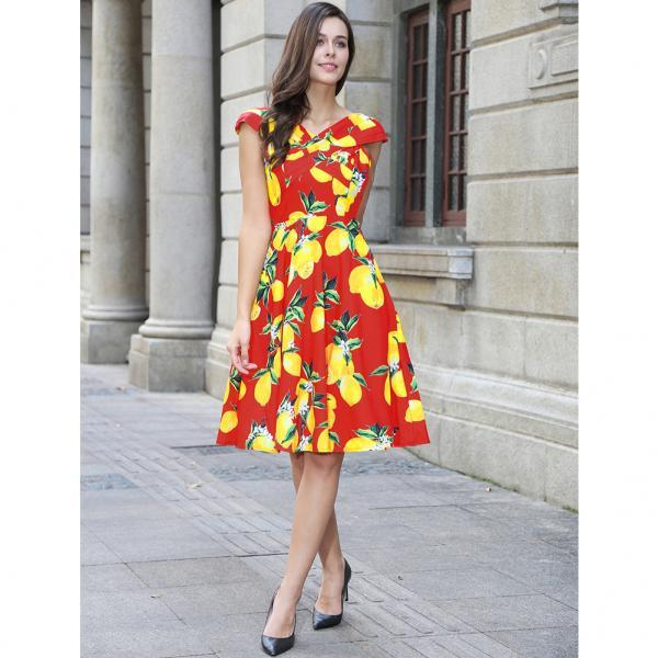 Vintage 50s 60s Floral Printed Women Cusual Dress Cross V-Neck Cap Sleeve Rockabilly Pinup Big Swing A Line Short Party Dress C851-red