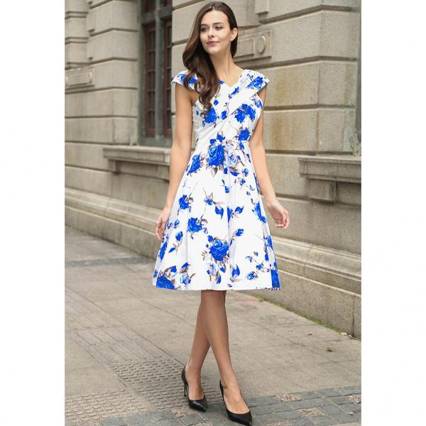 Vintage 50s 60s Floral Printed Women Cusual Dress Cross V-Neck Cap Sleeve Rockabilly Pinup Big Swing A Line Short Party Dress C866-blue