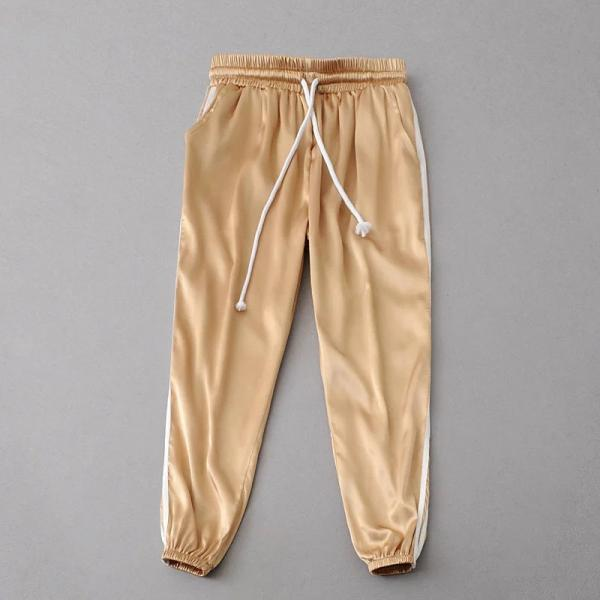 Sweatpants Women Sport Pants Joggers Casual Harlan Yoga Gym Side Striped Drawstring High Waist Lady Femme Trousers gold