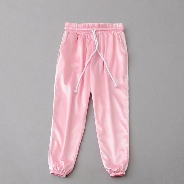 Sweatpants Women Sport Pants Joggers Casual Harlan Yoga Gym Side Striped Drawstring High Waist Lady Femme Trousers pink