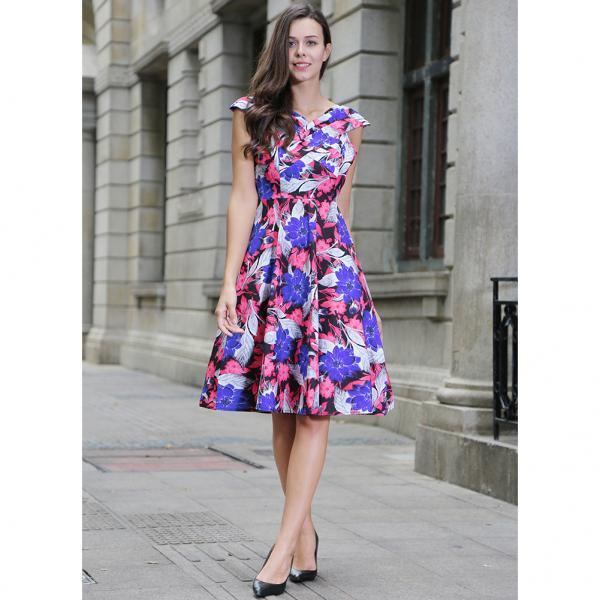 Vintage 50s 60s Floral Printed Women Cusual Dress Cross V-Neck Cap Sleeve Rockabilly Pinup Big Swing A Line Short Party Dress O551-hot pink