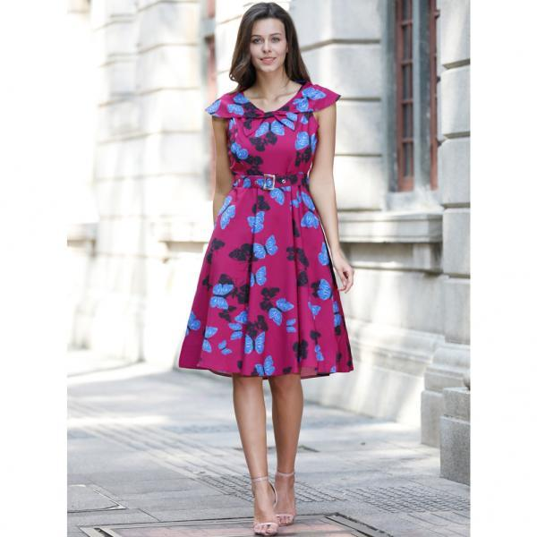 Audrey Hepburn Robe Retro Rockabilly Dress Knee Length jurken 60s Belted Floral Pin up Women 50s Vintage Swing Dress C893-fuchsia