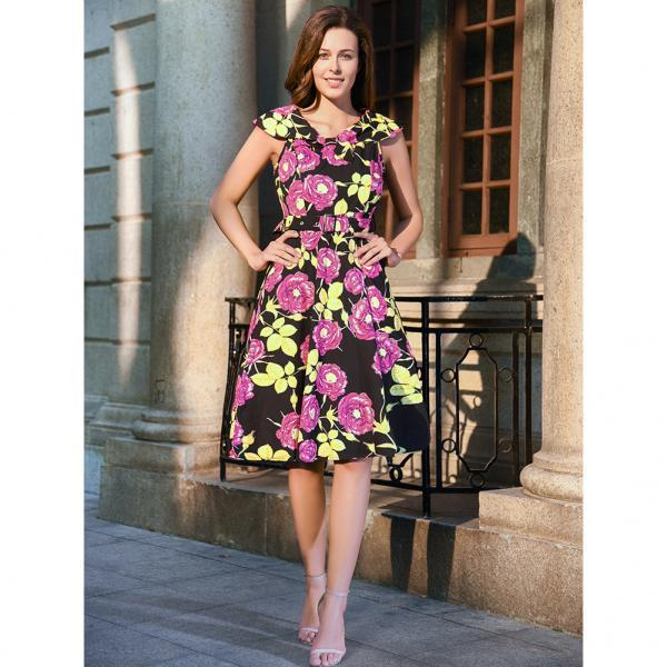 Women Floral Printed Dress Sleeveless Belted Vintage 50s 60s Audrey Hepburn Rockabilly Knee Length Swing A Line Dress C895-red