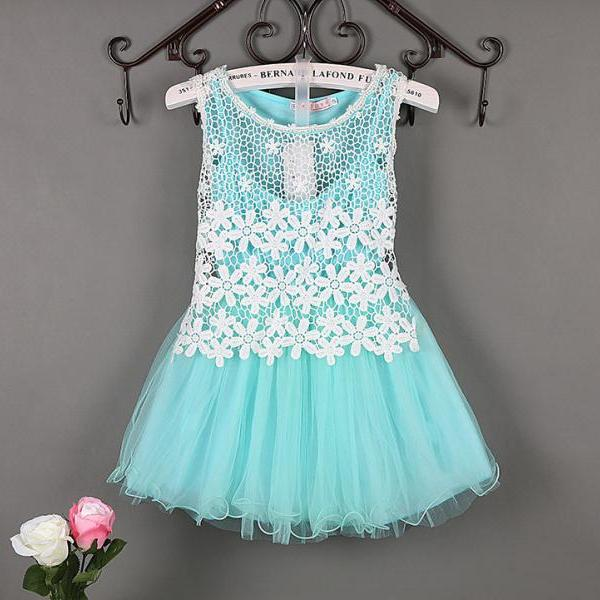 Summer Baby Flower Lace Dress High Quality Princess Girl Dress Kids Children Clothes Tutu Photo Prop aqua