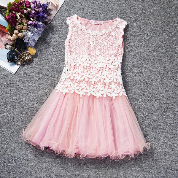 Summer Baby Flower Lace Dress High Quality Princess Girl Dress Kids Children Clothes Tutu Photo Prop aqua pink