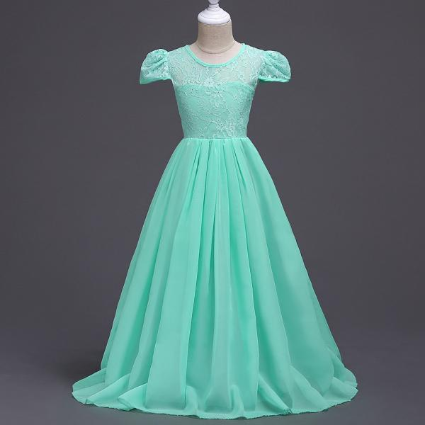 Summer Junior Girls Wedding Dress Cap Sleeve Floor Length Chiffon Princess Party Dresses Children Kids Formal Bridal Dress mint