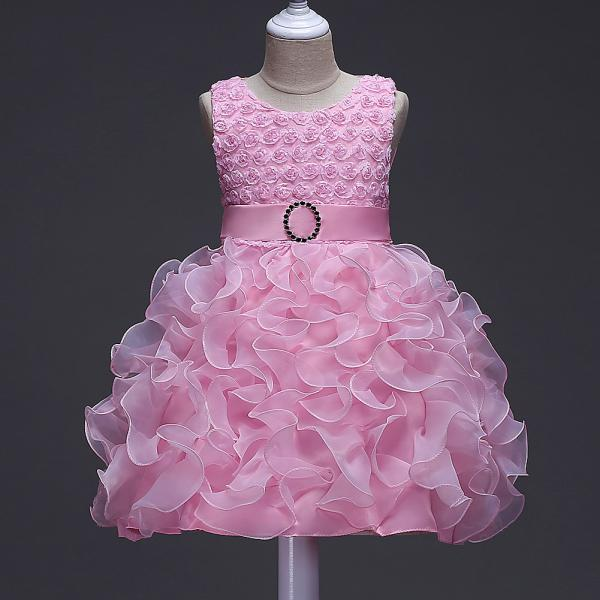 Little Girl Tutu Dress Princess 2017 New Ruffles Lace Kids Events Party Wear Dresses For Girls Children's Costume For Girls Clothes pink