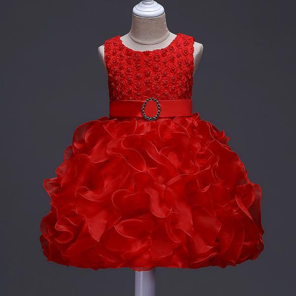 Little Girl Tutu Dress Princess 2017 New Ruffles Lace Kids Events Party Wear Dresses For Girls Children's Costume For Girls Clothes red