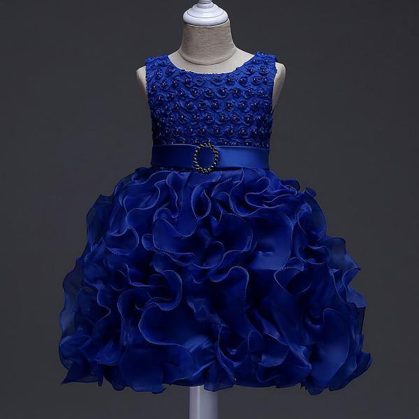 Little Girl Tutu Dress Princess 2017 New Ruffles Lace Kids Events Party Wear Dresses For Girls Children's Costume For Girls Clothes royal blue
