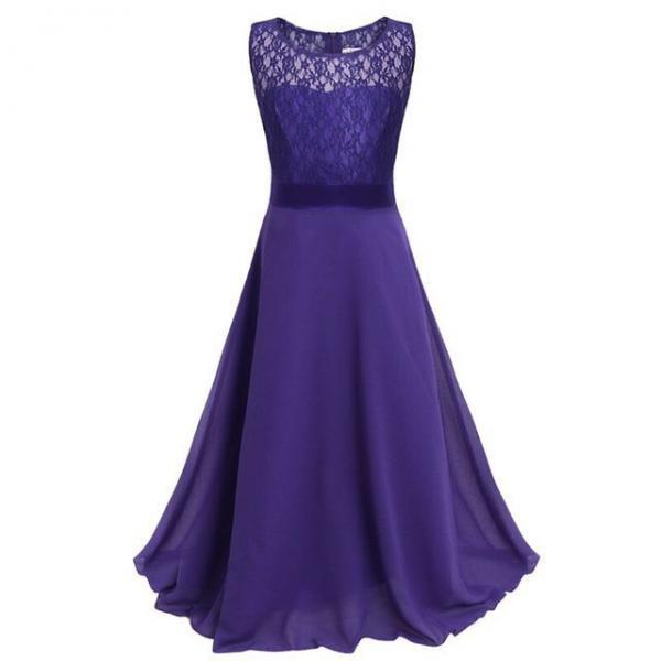 Lace Flower Girls Dress Party Wedding Bridesmaid Floral Kids Clothes Formal Long Maxi Dress dark purple