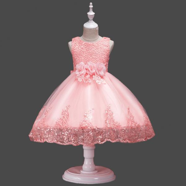 Princess Flower Girl Dress Wedding Party Prom Teens Bridesmaid Kids Clothes Sleeveless Lace Tutu Dress salmon