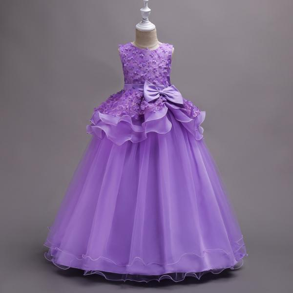Top Quality Princess Flower Girls Dress Teenager Kids Performance Clothes Layered Long Prom Party Formal Gown purple