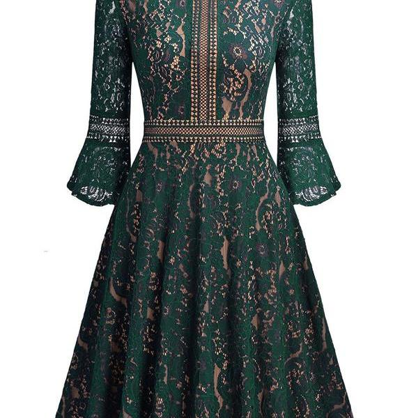 Vintage Floral Lace Dress Casual Women 3/4 Flare Sleeve Short Cocktail Evening Party Wear Big Swing Dress hunter green