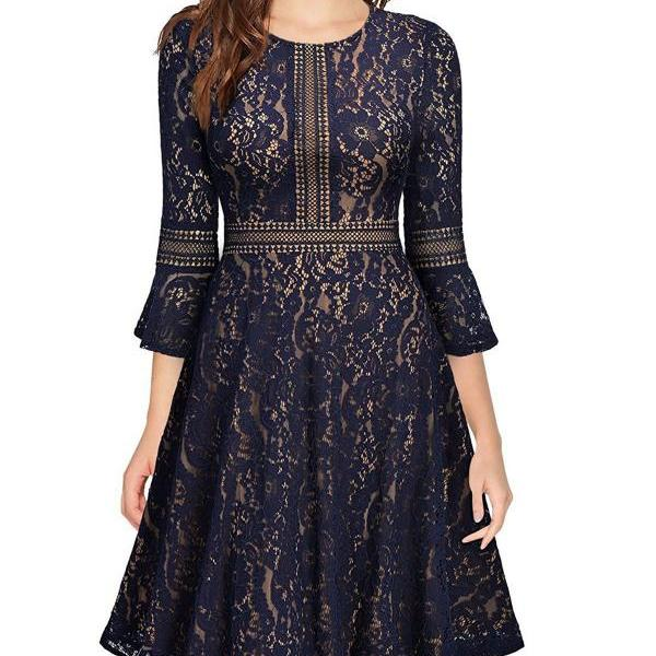 Vintage Floral Lace Dress Casual Women 3/4 Flare Sleeve Short Cocktail Evening Party Wear Big Swing Dress navy blue