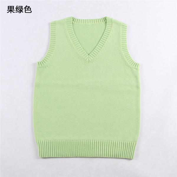 Japanese School Student JK Uniform Vest Girls Sleeveless V-Neck Sailor Knited Sweater Anime Love Live K-on Cosplay apple green