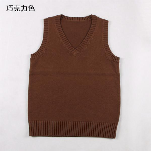 Japanese School Student JK Uniform Vest Girls Sleeveless V-Neck Sailor Knited Sweater Anime Love Live K-on Cosplay chocolate