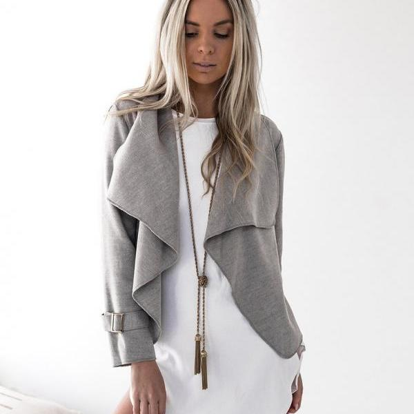 Autumn Fashion Women Turn-down Collar Coat Long Sleeve Cardigan Female Woolen Coat Solid Lapel Short Jacket Lady Outwear gray