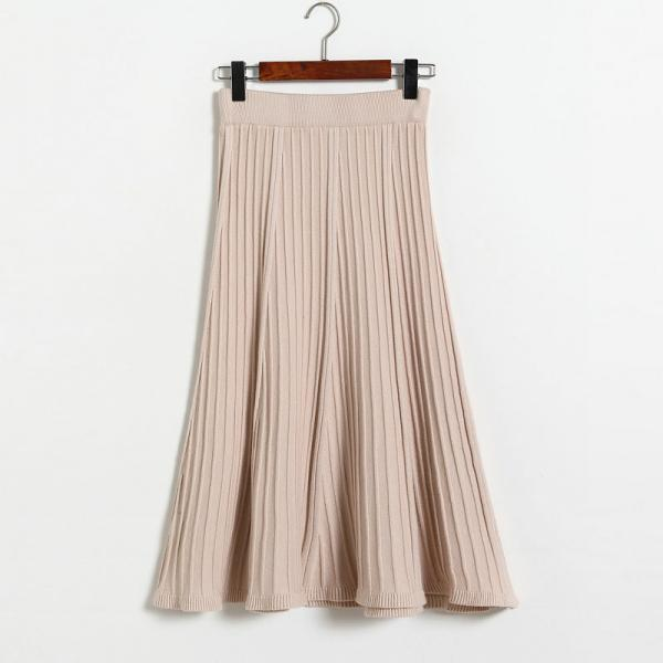 Vintage Fashion Pleated Skirt Women Knitted Autumn Winter High Waist A Line Long Midi Skirts apricot