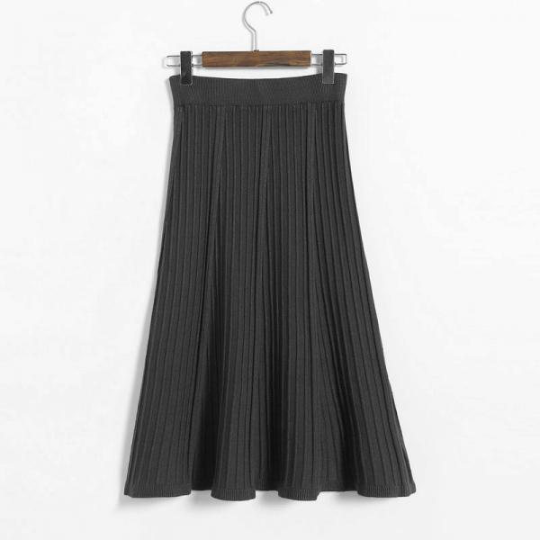 Vintage Fashion Pleated Skirt Women Knitted Autumn Winter High Waist A Line Long Midi Skirts black