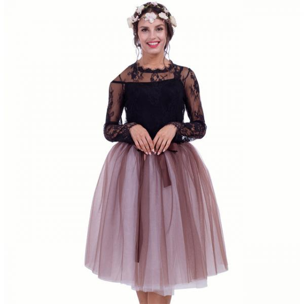 6 Layers Multi Color Tulle Midi Skirt Women Fashion Adult Tutu Skirts Mesh Bridesmaid Wedding Party Skirt coffee+off white