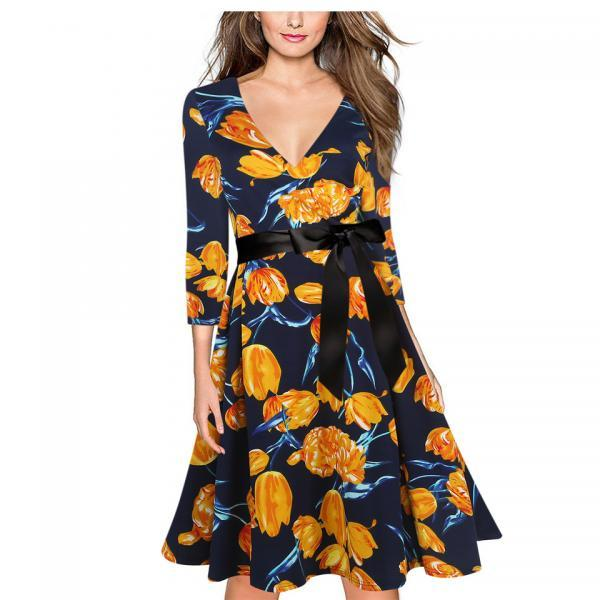 Vintage V Neck 3/4 Sleeve Women Dress Belted Tunic Floral Printed Party Evening A Line Swing Dress orange