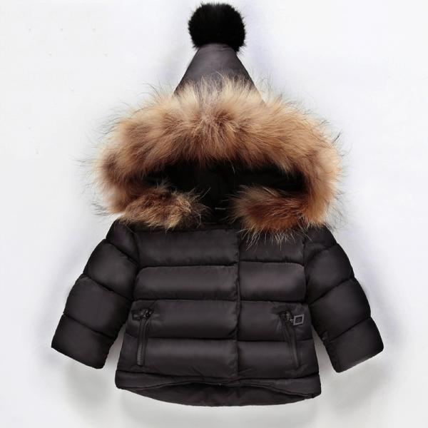Baby Winter Solid Coat Warm Kids Outwear Hooded Fashion Children Down Jackets Little Girls Down Coat black
