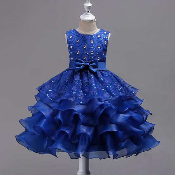 Sequined Lace Flower Girl Dress Princess Children Clothes Wedding Birthday Party Prom Gowns royal blue
