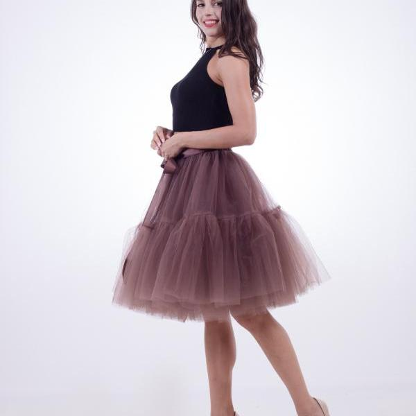 High Quality Lolita Skirt 5 Layers Tulle Midi Tutu Skirts Women Bridesmaid Wedding Party Petticoat brown