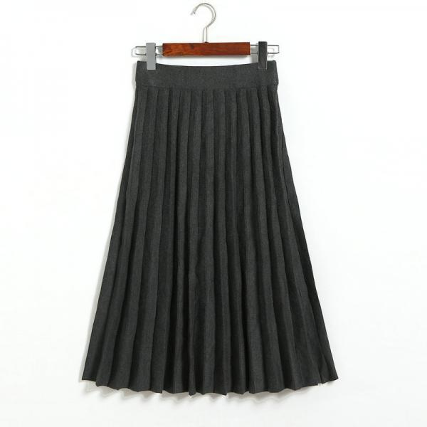 Fashion Knitted Pleated Skirt Autumn Winter High Waist Below Knee Midi A Line Office Skirt dark gray