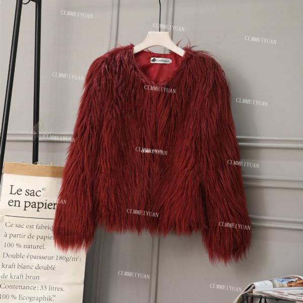Plus Size 4XL Women Fluffy Faux Fur Coats Long Sleeve Winter Warm Jackets Female Outerwear burgundy