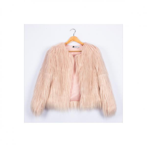 Plus Size 4XL Women Fluffy Faux Fur Coats Long Sleeve Winter Warm Jackets Female Outerwear light pink