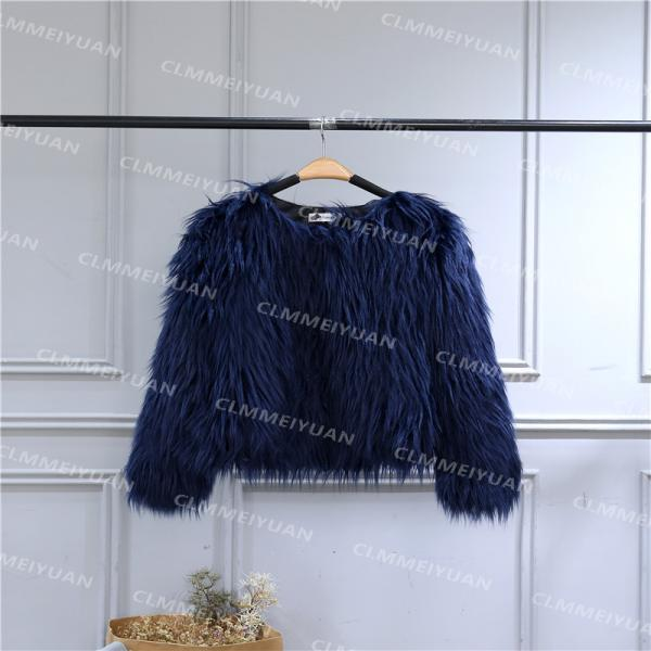 Plus Size 4XL Women Fluffy Faux Fur Coats Long Sleeve Winter Warm Jackets Female Outerwear navy blue