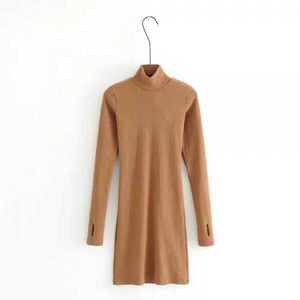 Long Sleeve Mini Dress Sexy Slim Sheath Bodycon High Neck Women Cocktail Club Party Dress caramel