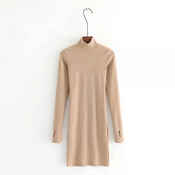Nude Mock Neck Long Sleeves Short Bodycon Dress