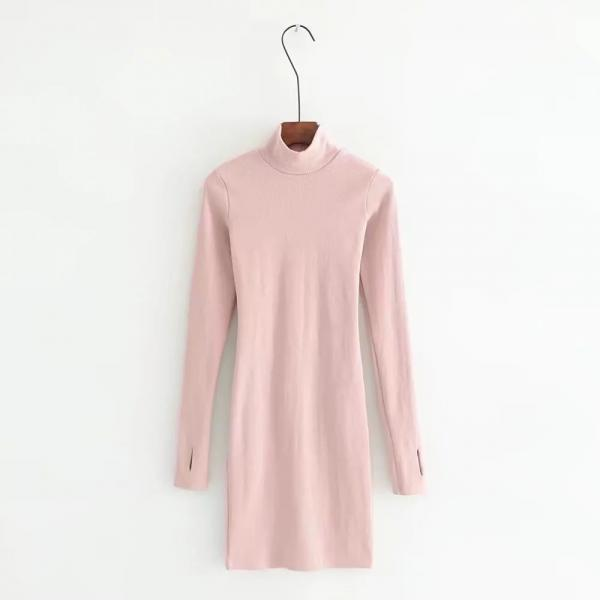 Pink Mock Neck Long Sleeves Short Bodycon Dress