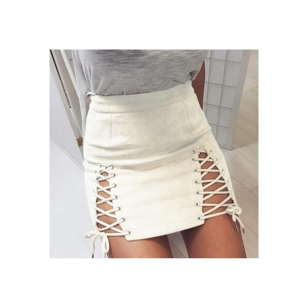 Women Faux Suede Mini Skirt Classic Sexy Bandage High Waist Lace Up Bodycon Short Pencil Skirt off white