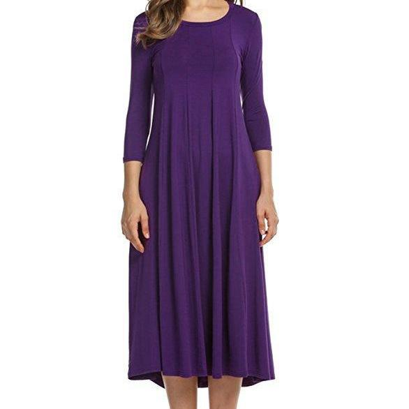 Purple O-Neck Midi Swing Dress with Long Sleeves