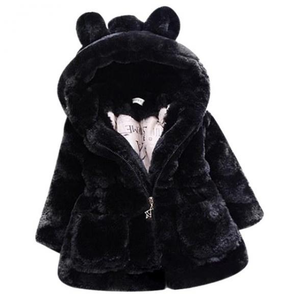 Cold Winter Baby Girls Clothes Faux Fur infant Coat Rabbit Ears Warm kids Jacket Snowsuit Outerwear black