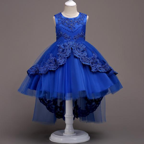 High Low Lace Flower Girls Dress Wedding Teens Prom Party Perform Gowns Kids Children Clothes royal blue