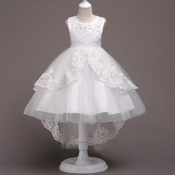 High Low Lace Flower Girls Dress Wedding Teens Prom Party Perform Gowns Kids Children Clothes off white