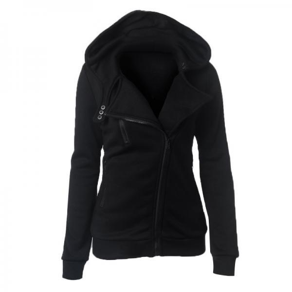 Fashion Spring Autumn Zipper Hooded Jacket Women Warm Hoodies Sweatshirts Cardigan Basic Coats Outerwear black